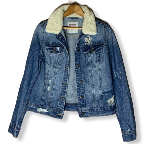 Mossimo Supply Co. Jackets & Blazers - Distressed Jean jacket with faux shearling trim
